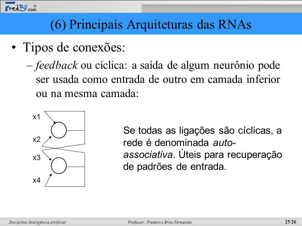 Professor: Frederico Brito Fernandes 25/26 Disciplina: Inteligência Artificial (6) Principais Arquiteturas das RNAs Tipos de conexões: –feedback ou cí