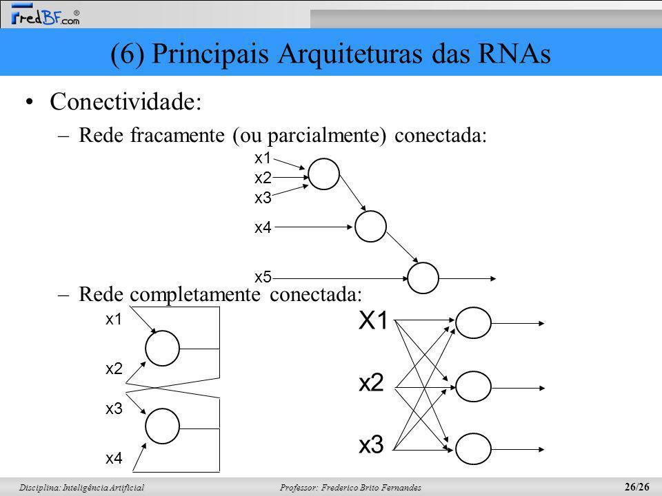 Professor: Frederico Brito Fernandes 26/26 Disciplina: Inteligência Artificial (6) Principais Arquiteturas das RNAs Conectividade: –Rede fracamente (o