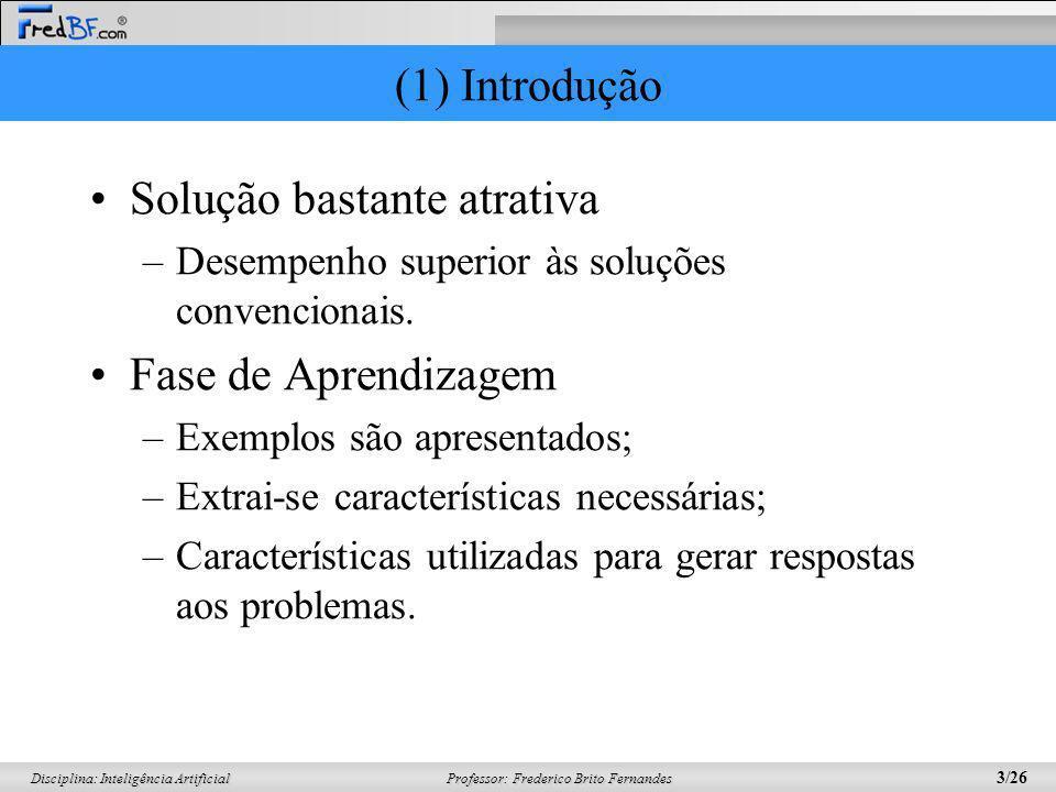 Professor: Frederico Brito Fernandes 3/26 Disciplina: Inteligência Artificial (1) Introdução Solução bastante atrativa –Desempenho superior às soluçõe
