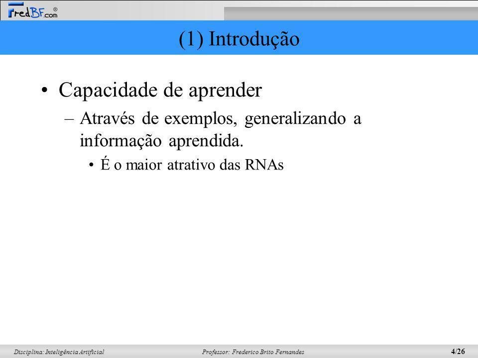 Professor: Frederico Brito Fernandes 4/26 Disciplina: Inteligência Artificial (1) Introdução Capacidade de aprender –Através de exemplos, generalizand