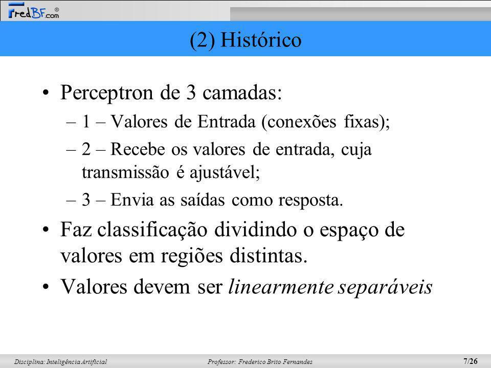 Professor: Frederico Brito Fernandes 7/26 Disciplina: Inteligência Artificial (2) Histórico Perceptron de 3 camadas: –1 – Valores de Entrada (conexões