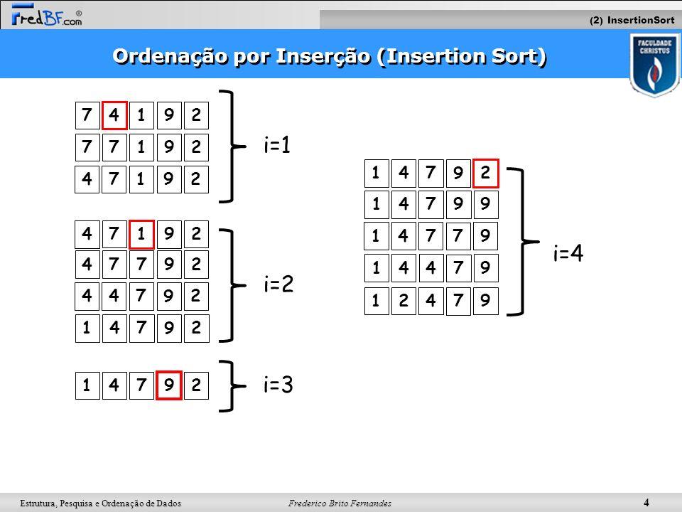 Frederico Brito Fernandes 4 Estrutura, Pesquisa e Ordenação de Dados Ordenação por Inserção (Insertion Sort) 7 4 192 77192 47192 47792 447 9 2 147 9 2
