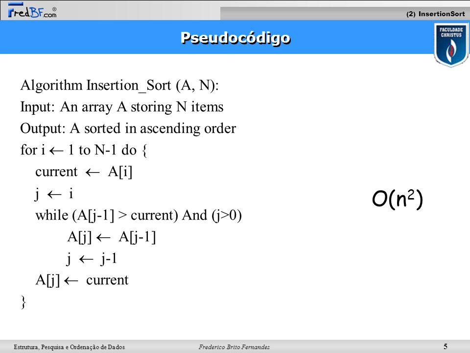 Frederico Brito Fernandes 5 Estrutura, Pesquisa e Ordenação de Dados Pseudocódigo Algorithm Insertion_Sort (A, N): Input: An array A storing N items O