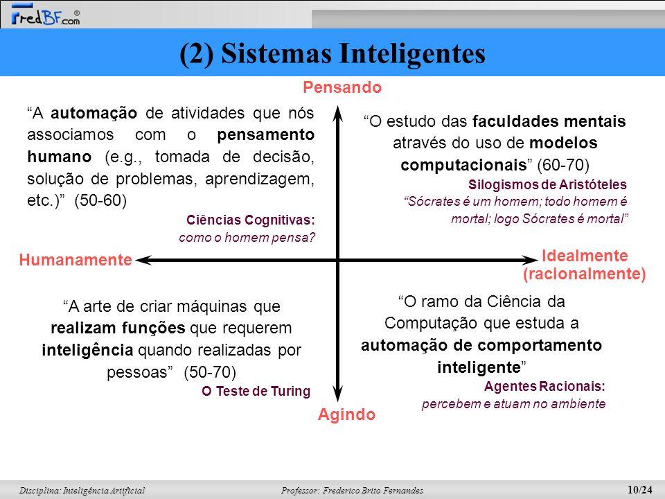 Professor: Frederico Brito Fernandes 9/24 Disciplina: Inteligência Artificial O retorno das redes neurais (1986-presente) –Desenvolvimento continuou e