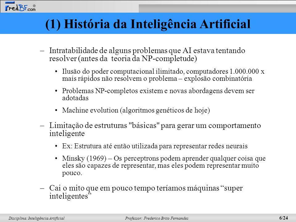 Professor: Frederico Brito Fernandes 5/24 Disciplina: Inteligência Artificial Uma dose de realidade (1966-1974) –Herbert Simon – futuro visível – comp