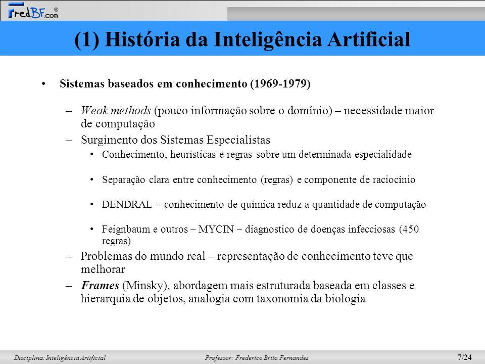 Professor: Frederico Brito Fernandes 6/24 Disciplina: Inteligência Artificial –Intratabilidade de alguns problemas que AI estava tentando resolver (an