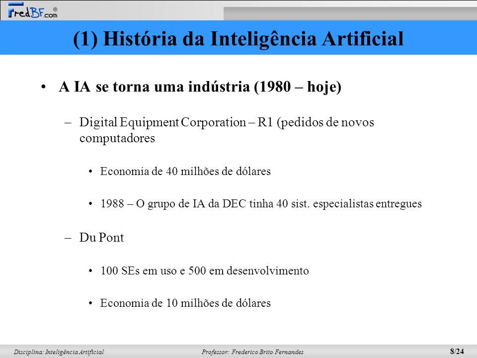 Professor: Frederico Brito Fernandes 7/24 Disciplina: Inteligência Artificial Sistemas baseados em conhecimento (1969-1979) –Weak methods (pouco infor