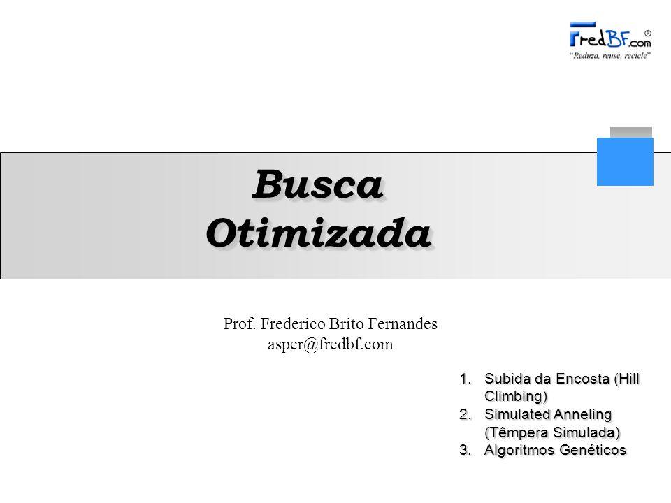 Prof. Frederico Brito Fernandes asper@fredbf.com 1.Subida da Encosta (Hill Climbing) 2.Simulated Anneling (Têmpera Simulada) 3.Algoritmos Genéticos Bu