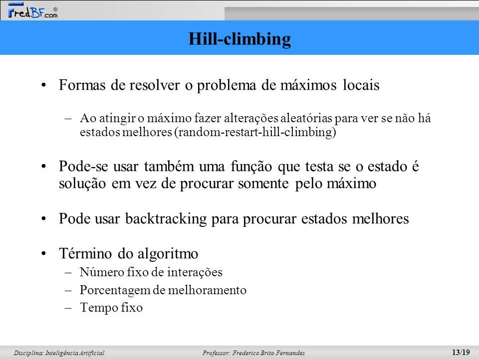 Professor: Frederico Brito Fernandes 13/19 Disciplina: Inteligência Artificial Hill-climbing Formas de resolver o problema de máximos locais –Ao ating