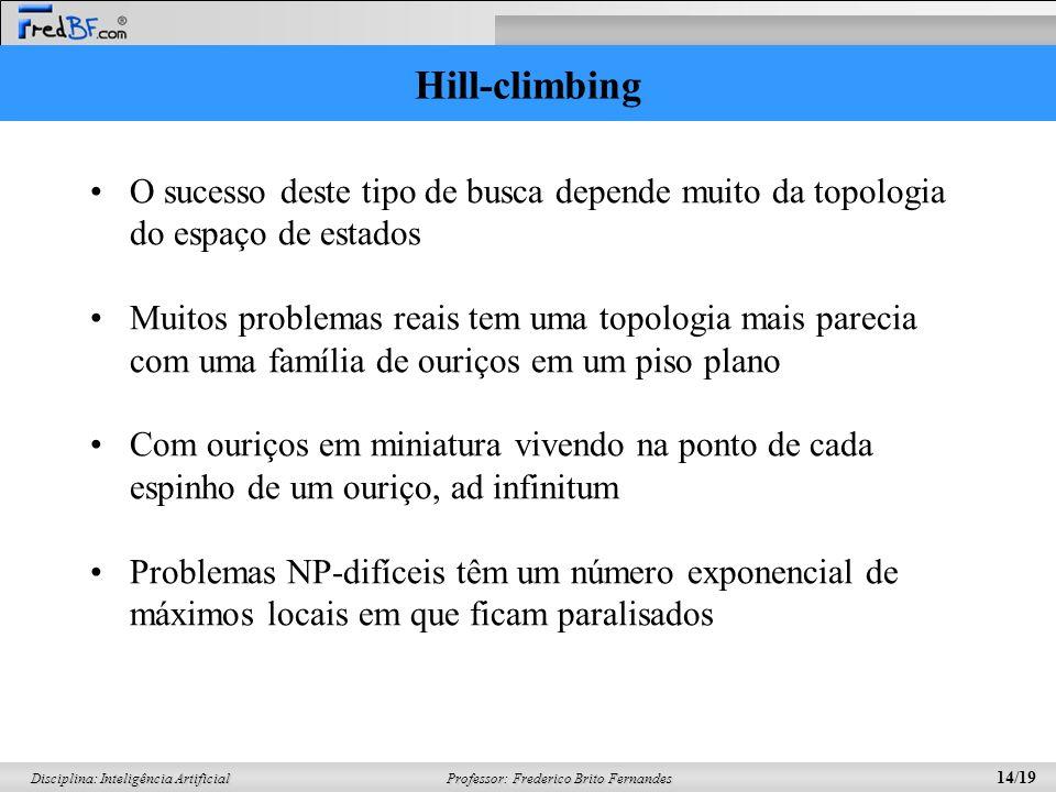 Professor: Frederico Brito Fernandes 14/19 Disciplina: Inteligência Artificial Hill-climbing O sucesso deste tipo de busca depende muito da topologia