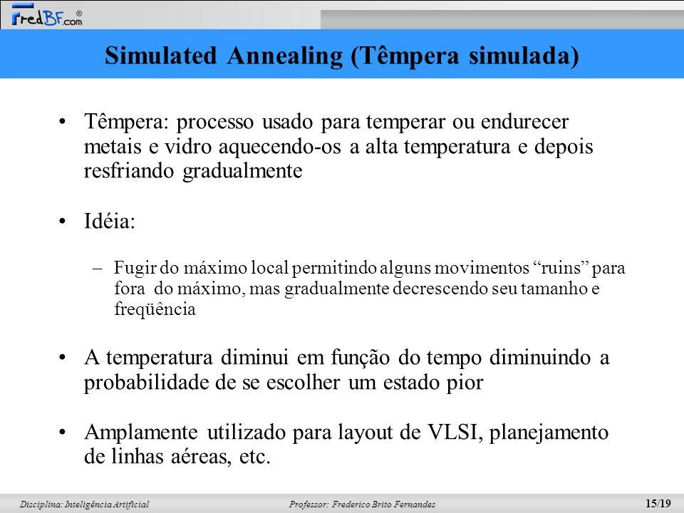 Professor: Frederico Brito Fernandes 15/19 Disciplina: Inteligência Artificial Simulated Annealing (Têmpera simulada) Têmpera: processo usado para tem
