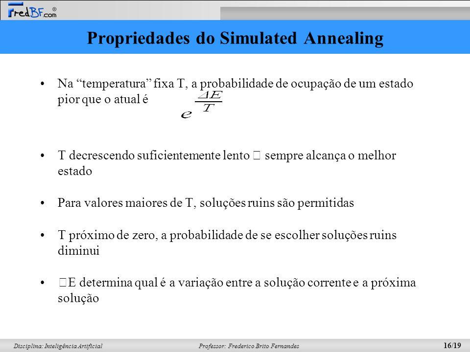 Professor: Frederico Brito Fernandes 16/19 Disciplina: Inteligência Artificial Propriedades do Simulated Annealing Na temperatura fixa T, a probabilid