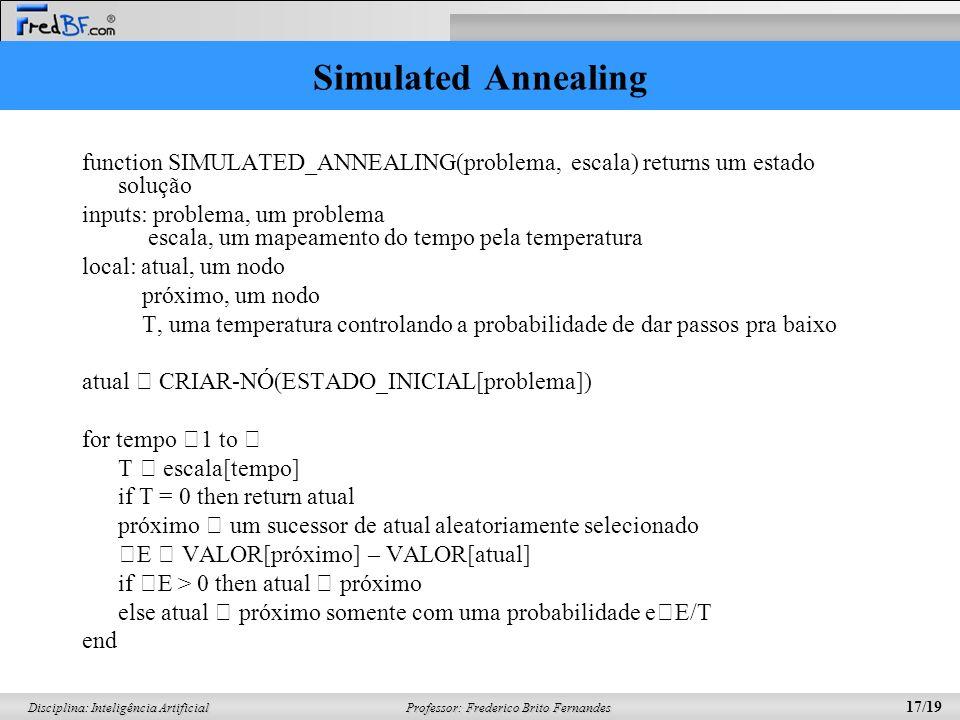 Professor: Frederico Brito Fernandes 17/19 Disciplina: Inteligência Artificial Simulated Annealing function SIMULATED_ANNEALING(problema, escala) retu