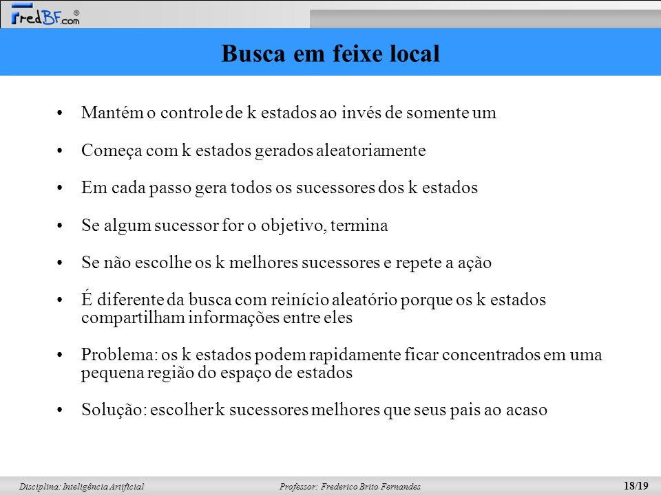 Professor: Frederico Brito Fernandes 18/19 Disciplina: Inteligência Artificial Busca em feixe local Mantém o controle de k estados ao invés de somente