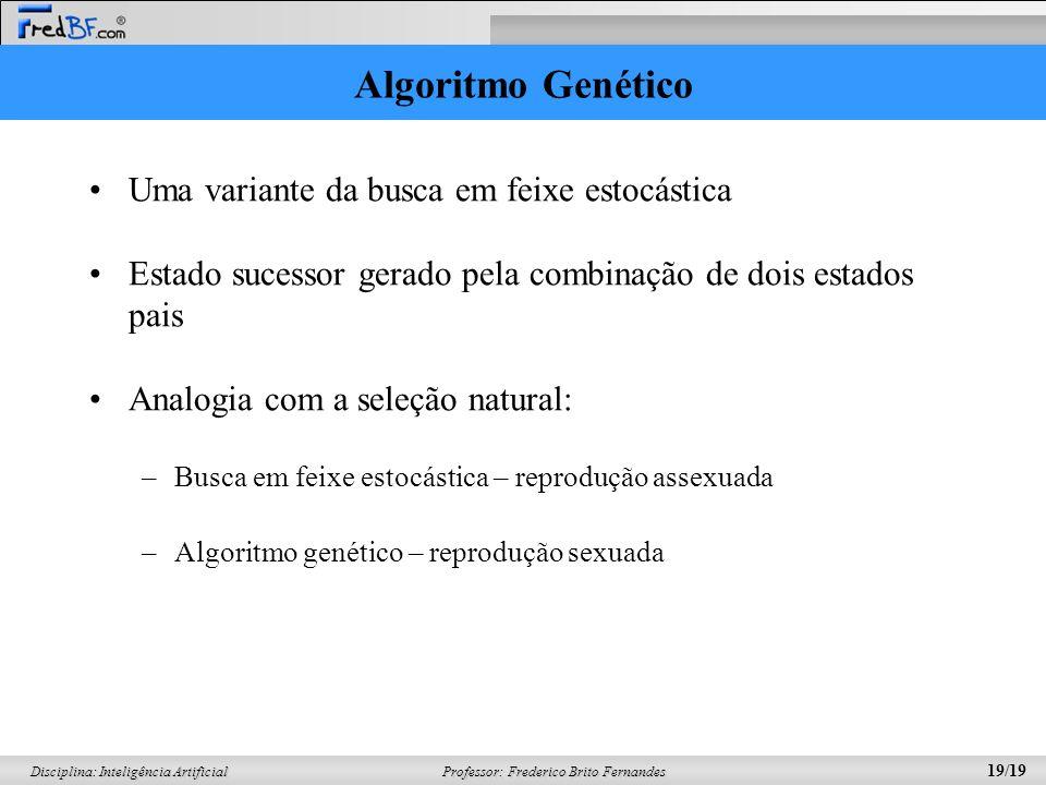 Professor: Frederico Brito Fernandes 19/19 Disciplina: Inteligência Artificial Algoritmo Genético Uma variante da busca em feixe estocástica Estado su