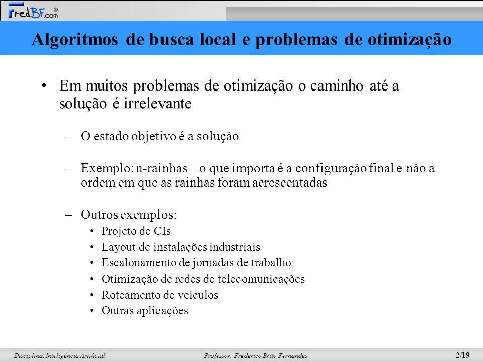 Professor: Frederico Brito Fernandes 2/19 Disciplina: Inteligência Artificial Algoritmos de busca local e problemas de otimização Em muitos problemas