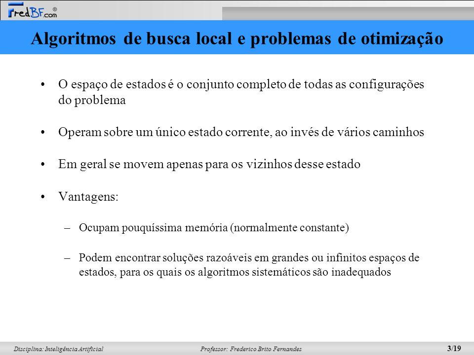 Professor: Frederico Brito Fernandes 3/19 Disciplina: Inteligência Artificial Algoritmos de busca local e problemas de otimização O espaço de estados