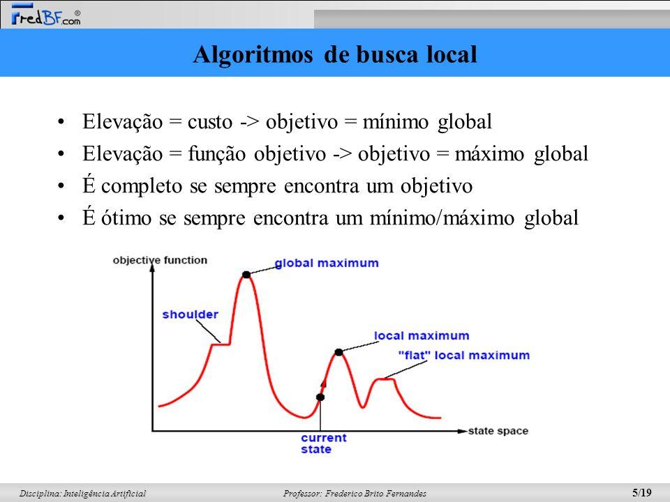 Professor: Frederico Brito Fernandes 6/19 Disciplina: Inteligência Artificial Busca de subida de encosta (Hill-Climbing) function HILL-CLIMBING(problema) returns um estado que é o máximo local inputs:problema, um problema local:atual, um nodo vizinho, um nodo atual <- CRIAR-NÓ(ESTADO_INICIAL[problema]) loop vizinho <- um sucessor atual com valor mais alto If VALOR[vizinho] <= VALOR[atual] then return ESTADO[atual] atual <- vizinho end