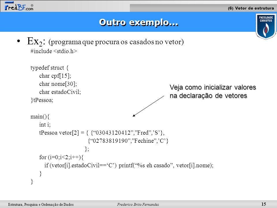 Frederico Brito Fernandes 15 Estrutura, Pesquisa e Ordenação de Dados Outro exemplo... Ex 2 : (programa que procura os casados no vetor) #include type