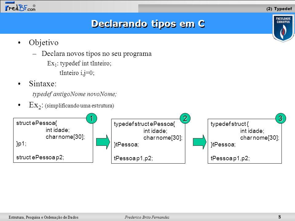 Frederico Brito Fernandes 9 Estrutura, Pesquisa e Ordenação de Dados Declarando tipos em C Objetivo –Declara novos tipos no seu programa Ex: typedef int tInteiro; tInteiro i,j=0; Sintaxe: typedef antigoNome novoNome; Ex 1 : (simplificando uma estrutura) struct ePessoa{ int idade; char nome[30]; }p1; struct ePessoa p2; typedef struct ePessoa{ int idade; char nome[30]; }tPessoa; tPessoa p1,p2; typedef struct { int idade; char nome[30]; }tPessoa; tPessoa p1,p2; O nome da estrutura pode ainda ser retirado variável vira tipo O acesso às variáveis p1 e p2 é o mesmo nas três declarações: p1.idade = p2.idade; mais simples de declarar 123 (2) Typedef