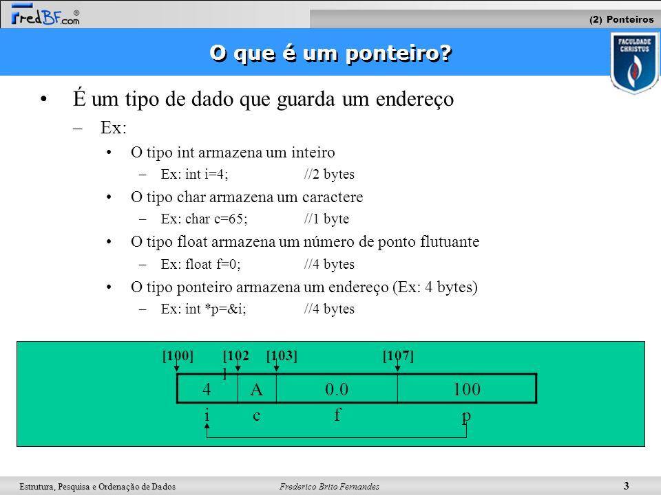 Frederico Brito Fernandes 3 Estrutura, Pesquisa e Ordenação de Dados O que é um ponteiro? É um tipo de dado que guarda um endereço –Ex: O tipo int arm