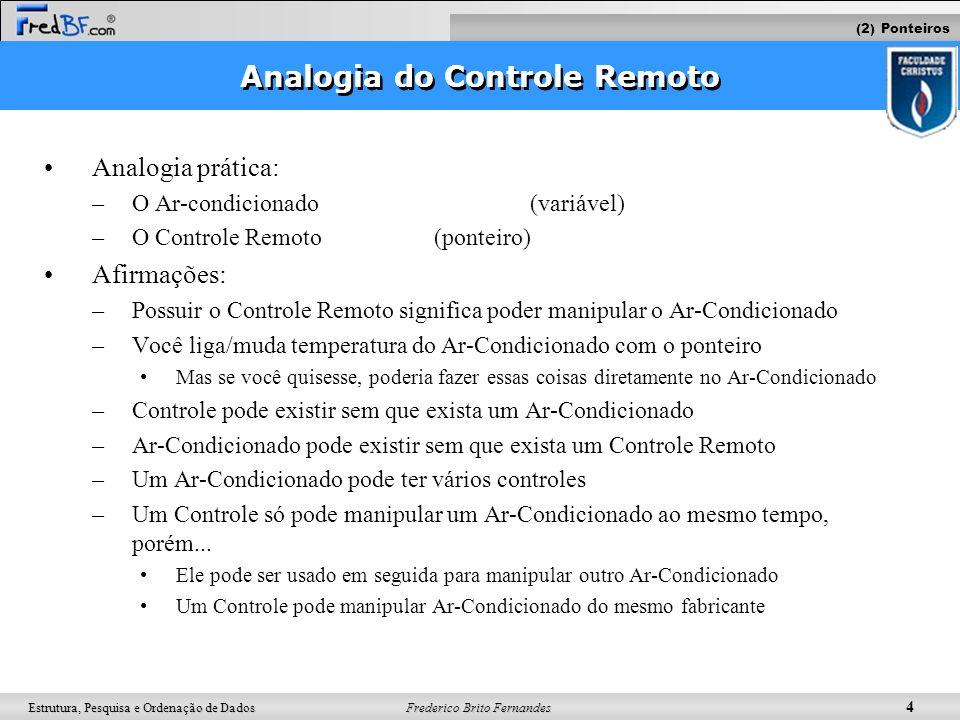 Frederico Brito Fernandes 4 Estrutura, Pesquisa e Ordenação de Dados Analogia do Controle Remoto Analogia prática: –O Ar-condicionado (variável) –O Co