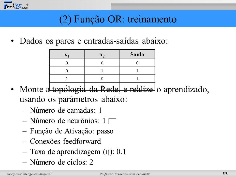 Professor: Frederico Brito Fernandes 5/8 Disciplina: Inteligência Artificial (2) Função OR: treinamento Dados os pares e entradas-saídas abaixo: Monte a topologia da Rede, e realize o aprendizado, usando os parâmetros abaixo: –Número de camadas: 1 –Número de neurônios: 1 –Função de Ativação: passo –Conexões feedforward –Taxa de aprendizagem (η): 0.1 –Número de ciclos: 2 x1x1 x2x2 Saída 000 011 101 111