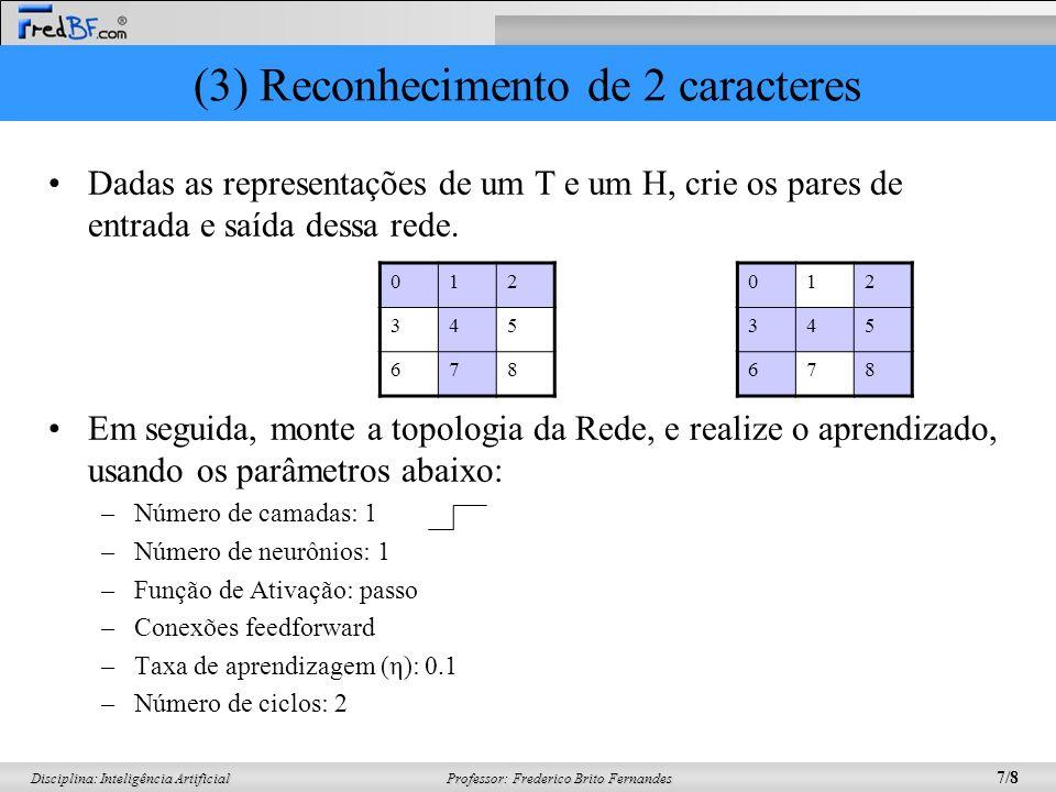 Professor: Frederico Brito Fernandes 8/8 Disciplina: Inteligência Artificial (4) Análise de Crédito A partir dos dados abaixo sobre bons e maus pagadores: Monte a topologia da Rede, e realize o aprendizado, usando os parâmetros abaixo: –Número de camadas: 1 –Número de neurônios: 1 –Função de Ativação: passo –Conexões feedforward –Taxa de aprendizagem (η): 0.1 –Número de ciclos: 2 IdadeRendaFilhosSexoCLASSE 25R$ 1.400,001MBOM (1) 50R$ 3.800,000FMAU (0) 36R$ 10.000,008MMAU (0) 18R$ 600,002FBOM (1) Normalize As entradas