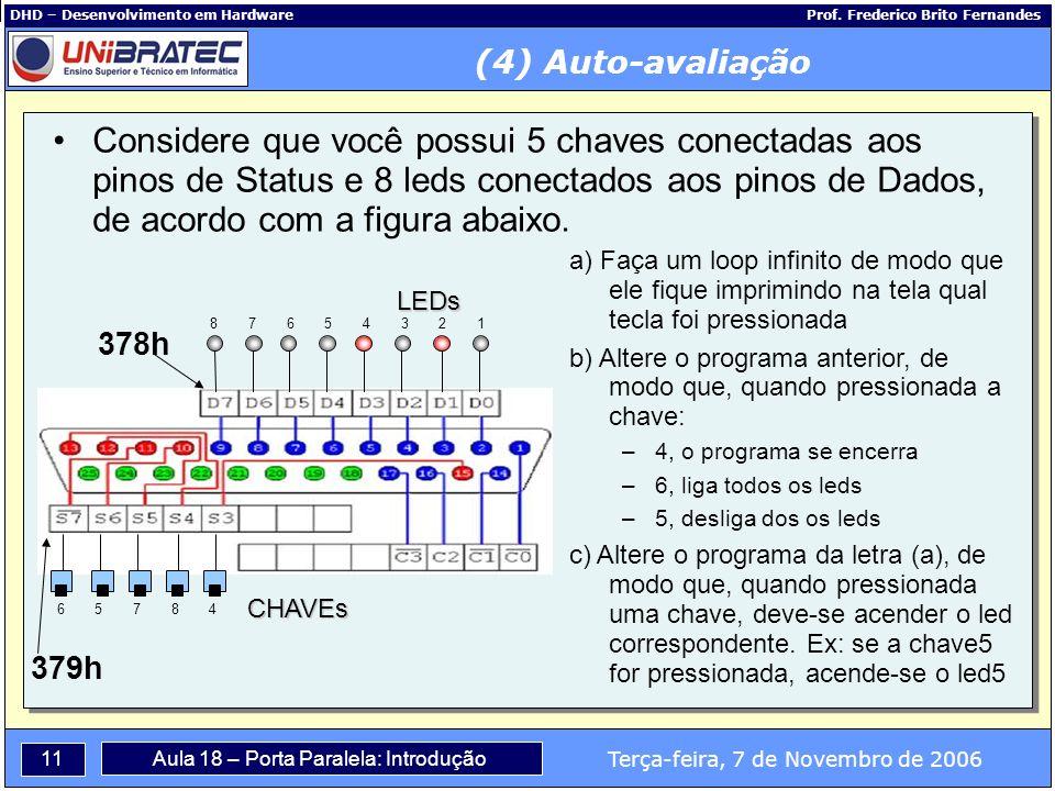 11 Terça-feira, 7 de Novembro de 2006 Aula 18 – Porta Paralela: Introdução DHD – Desenvolvimento em Hardware Prof.