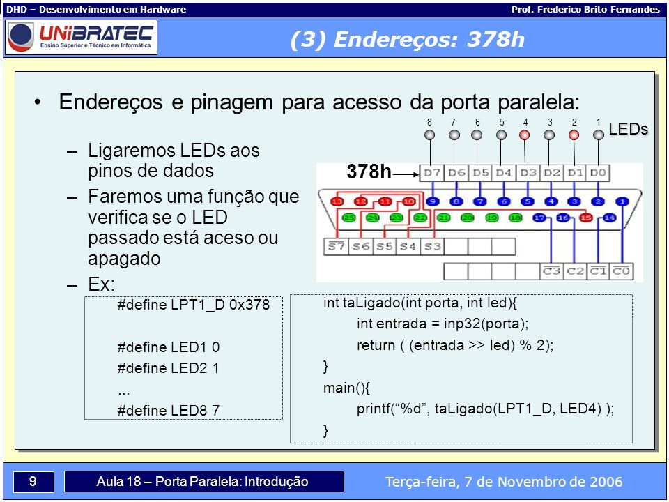 10 Terça-feira, 7 de Novembro de 2006 Aula 18 – Porta Paralela: Introdução DHD – Desenvolvimento em Hardware Prof.