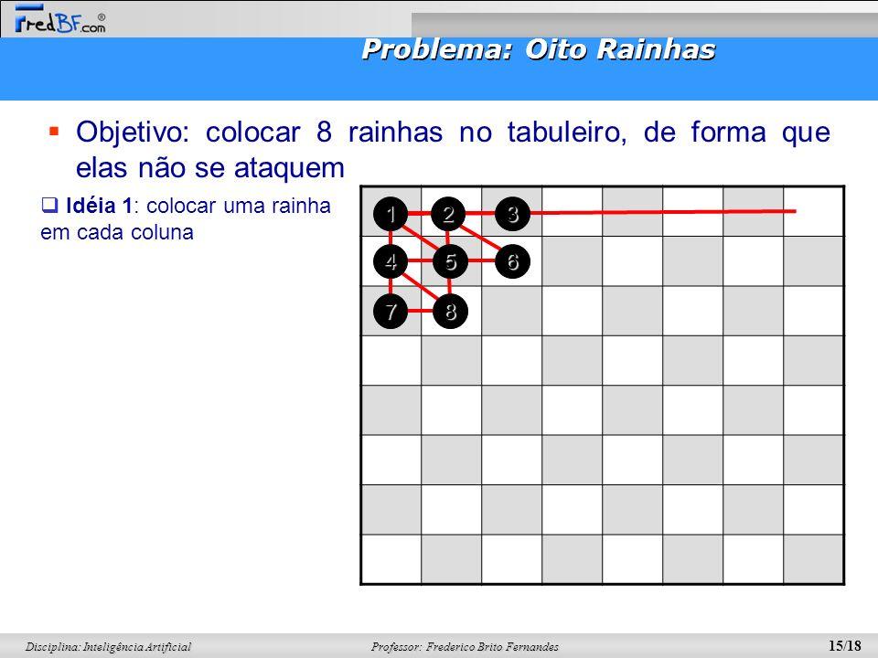 Professor: Frederico Brito Fernandes 15/18 Disciplina: Inteligência Artificial Problema: Oito Rainhas Objetivo: colocar 8 rainhas no tabuleiro, de for