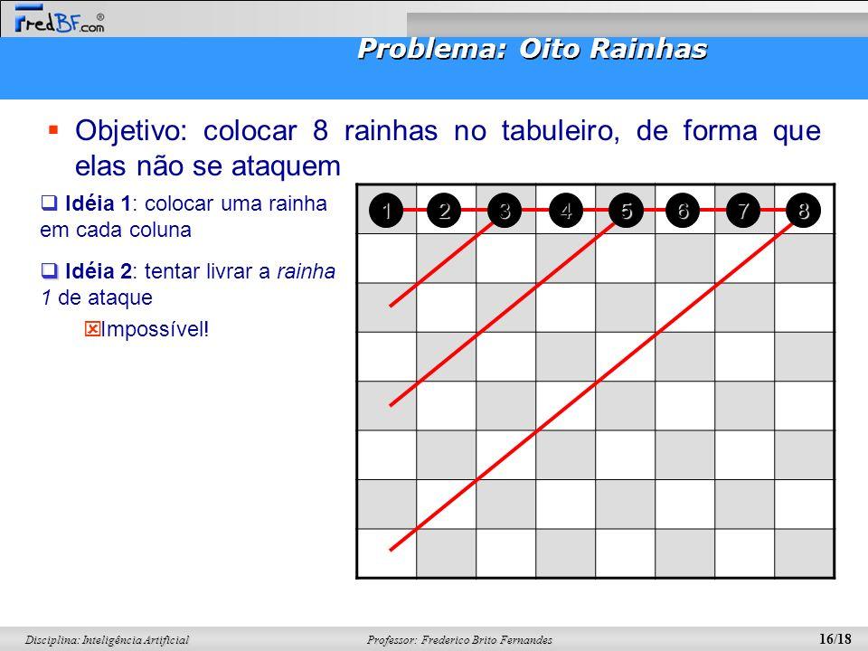 Professor: Frederico Brito Fernandes 16/18 Disciplina: Inteligência Artificial Problema: Oito Rainhas Objetivo: colocar 8 rainhas no tabuleiro, de for