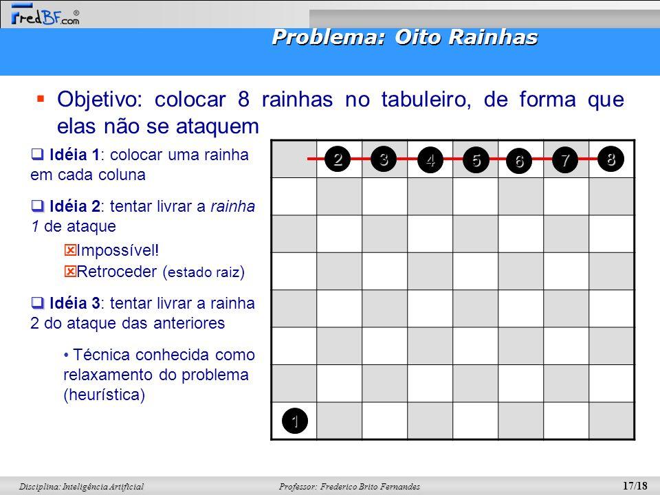 Professor: Frederico Brito Fernandes 17/18 Disciplina: Inteligência Artificial Problema: Oito Rainhas Objetivo: colocar 8 rainhas no tabuleiro, de for