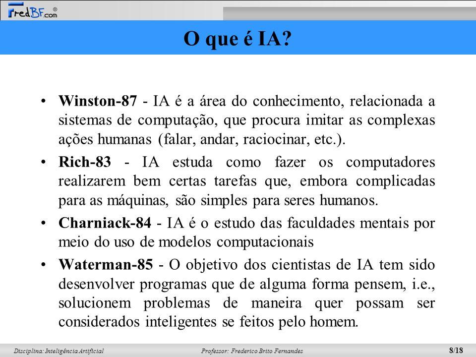 Professor: Frederico Brito Fernandes 8/18 Disciplina: Inteligência Artificial O que é IA? Winston-87 - IA é a área do conhecimento, relacionada a sist