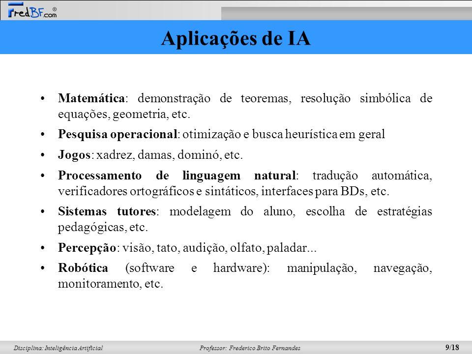 Professor: Frederico Brito Fernandes 9/18 Disciplina: Inteligência Artificial Aplicações de IA Matemática: demonstração de teoremas, resolução simbóli