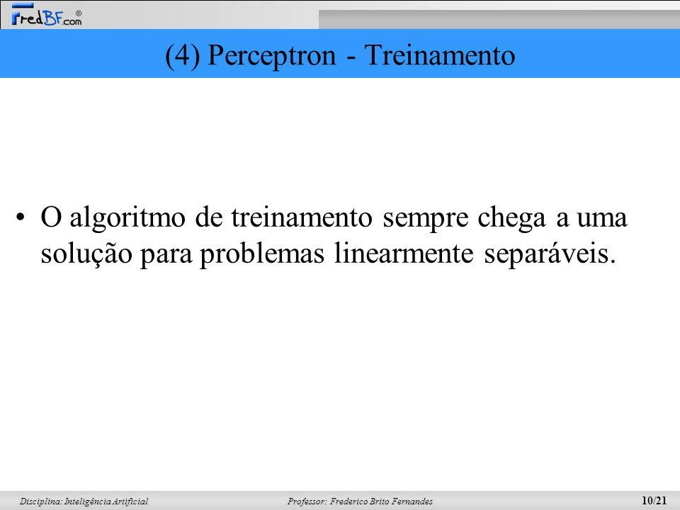 Professor: Frederico Brito Fernandes 10/21 Disciplina: Inteligência Artificial (4) Perceptron - Treinamento O algoritmo de treinamento sempre chega a