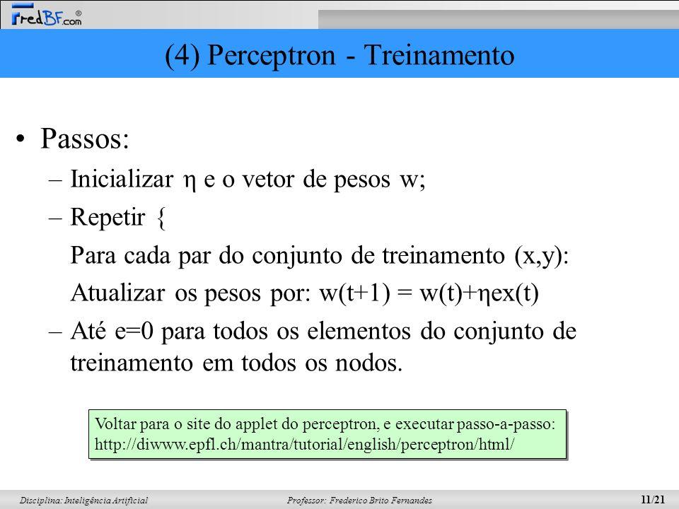 Professor: Frederico Brito Fernandes 11/21 Disciplina: Inteligência Artificial (4) Perceptron - Treinamento Passos: –Inicializar η e o vetor de pesos