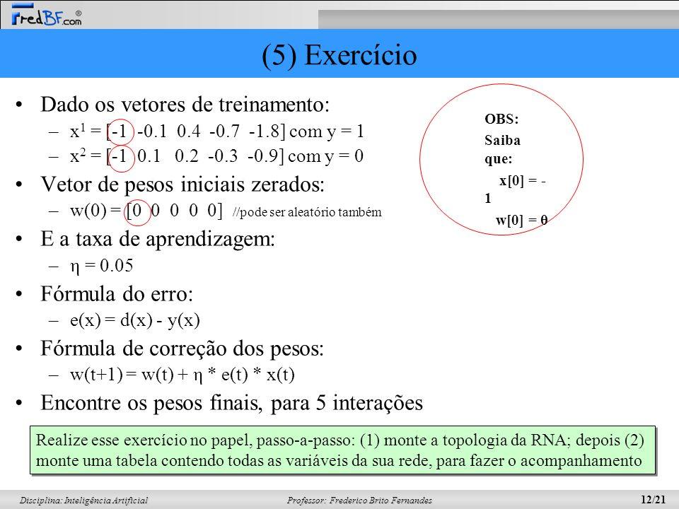 Professor: Frederico Brito Fernandes 12/21 Disciplina: Inteligência Artificial (5) Exercício Dado os vetores de treinamento: –x 1 = [-1 -0.1 0.4 -0.7
