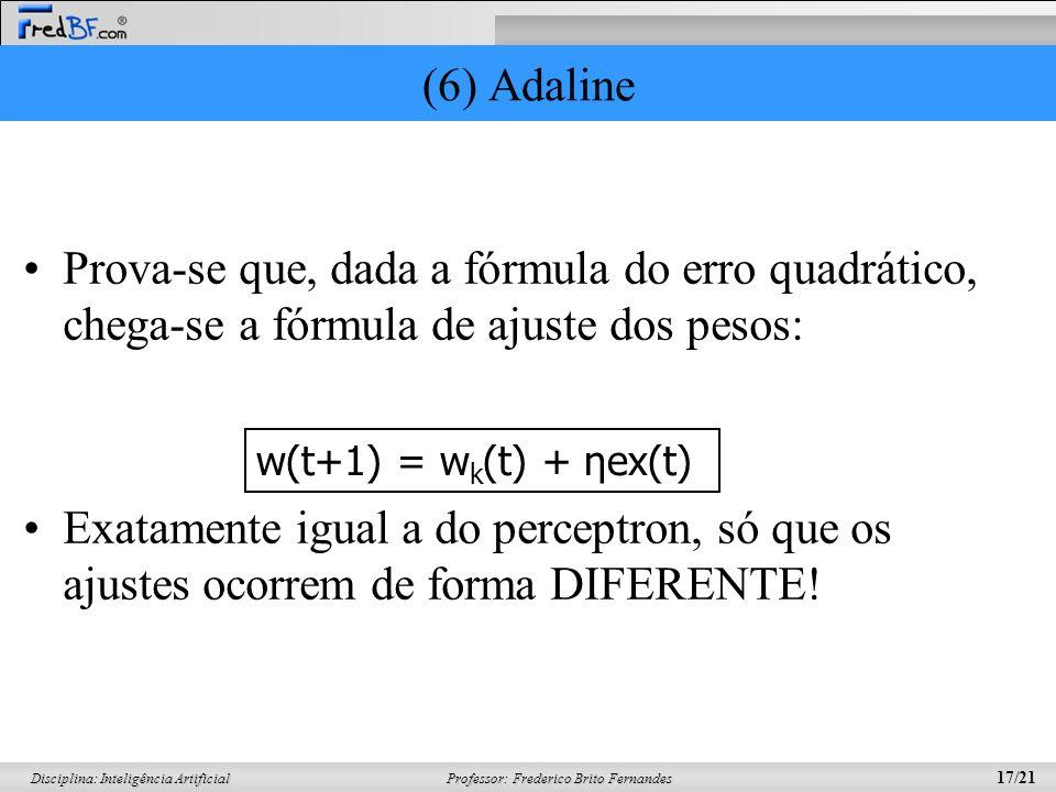 Professor: Frederico Brito Fernandes 17/21 Disciplina: Inteligência Artificial (6) Adaline Prova-se que, dada a fórmula do erro quadrático, chega-se a