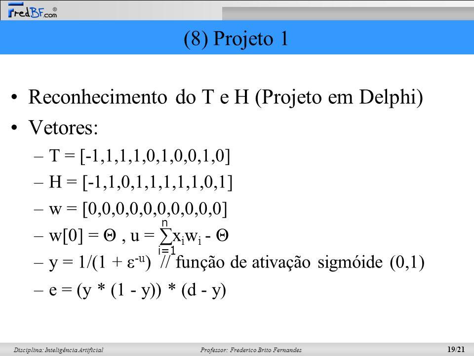 Professor: Frederico Brito Fernandes 19/21 Disciplina: Inteligência Artificial (8) Projeto 1 Reconhecimento do T e H (Projeto em Delphi) Vetores: –T =