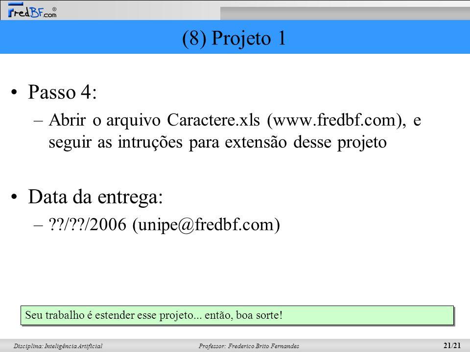 Professor: Frederico Brito Fernandes 21/21 Disciplina: Inteligência Artificial (8) Projeto 1 Passo 4: –Abrir o arquivo Caractere.xls (www.fredbf.com),