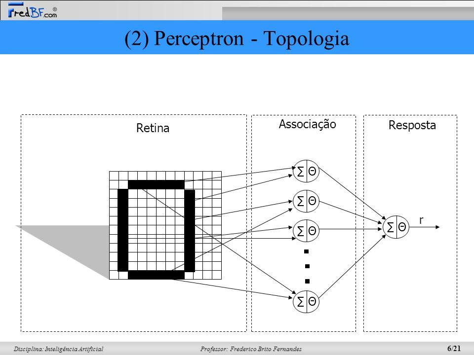 Professor: Frederico Brito Fernandes 17/21 Disciplina: Inteligência Artificial (6) Adaline Prova-se que, dada a fórmula do erro quadrático, chega-se a fórmula de ajuste dos pesos: Exatamente igual a do perceptron, só que os ajustes ocorrem de forma DIFERENTE.