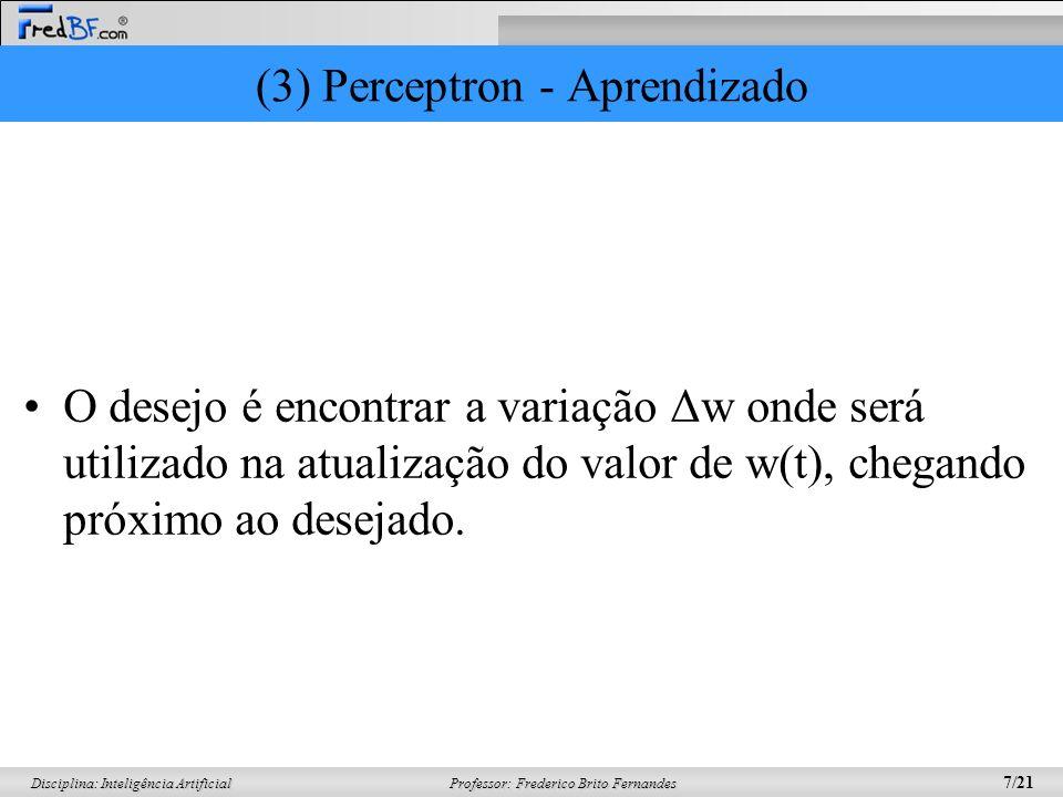 Professor: Frederico Brito Fernandes 8/21 Disciplina: Inteligência Artificial (3) Perceptron - Aprendizado Ativação de um nodo é dado por: –w.