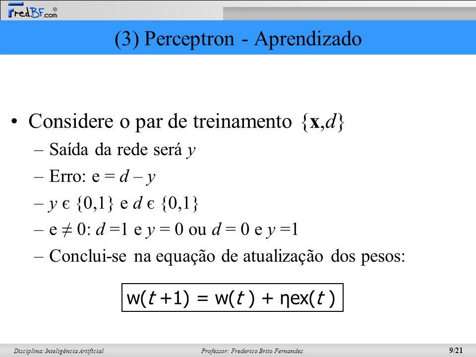 Professor: Frederico Brito Fernandes 9/21 Disciplina: Inteligência Artificial (3) Perceptron - Aprendizado Considere o par de treinamento {x,d} –Saída
