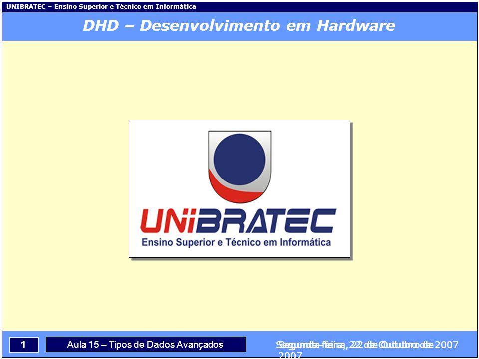 Capítulo 1 – Conceitos Básicos 1 Segunda-feira, 22 de Outubro de 2007 UNIBRATEC – Ensino Superior e Técnico em Informática Aula 15 – Tipos de Dados Avançados Segunda-feira, 22 de Outubro de 2007 DHD – Desenvolvimento em Hardware