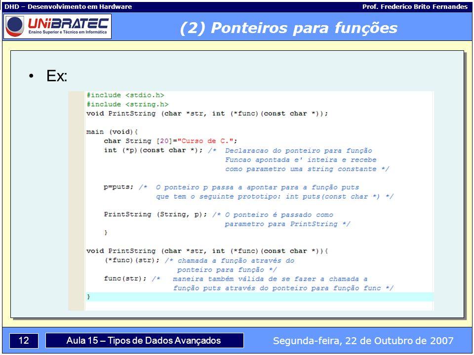 12 Segunda-feira, 22 de Outubro de 2007 Aula 15 – Tipos de Dados Avançados DHD – Desenvolvimento em Hardware Prof.