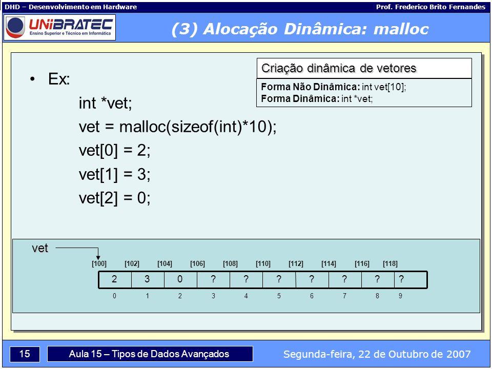 15 Segunda-feira, 22 de Outubro de 2007 Aula 15 – Tipos de Dados Avançados DHD – Desenvolvimento em Hardware Prof.
