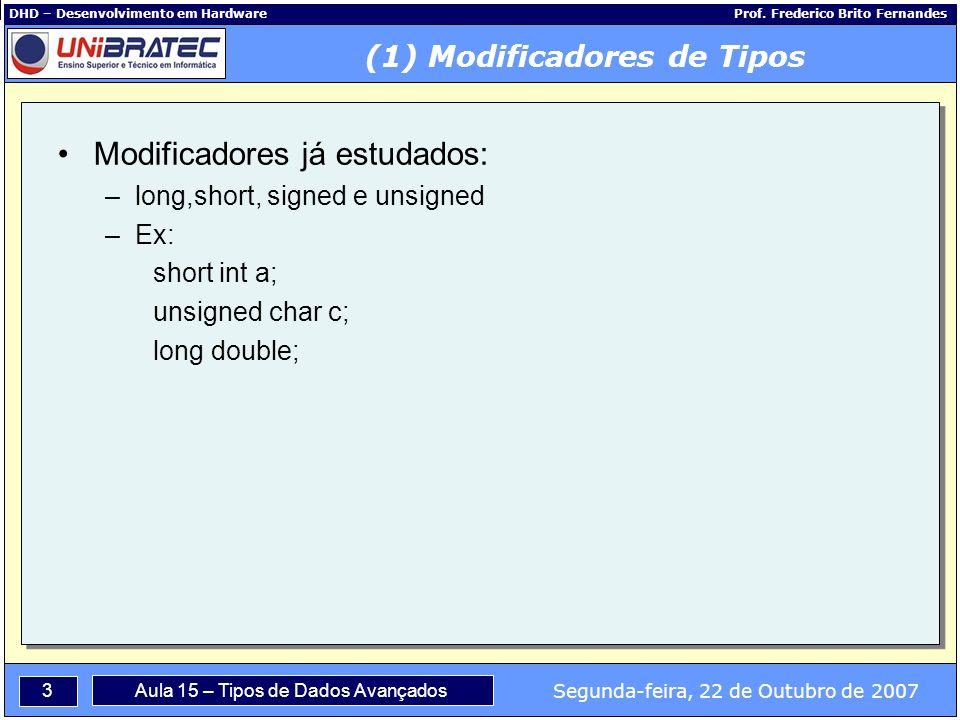 3 Segunda-feira, 22 de Outubro de 2007 Aula 15 – Tipos de Dados Avançados DHD – Desenvolvimento em Hardware Prof.