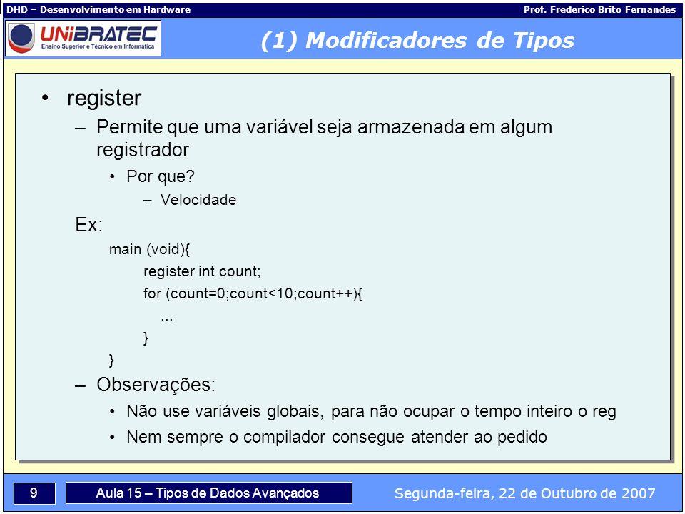 9 Segunda-feira, 22 de Outubro de 2007 Aula 15 – Tipos de Dados Avançados DHD – Desenvolvimento em Hardware Prof.