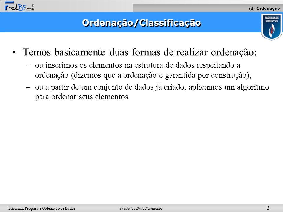 Frederico Brito Fernandes 3 Estrutura, Pesquisa e Ordenação de Dados Ordenação/Classificação Temos basicamente duas formas de realizar ordenação: –ou